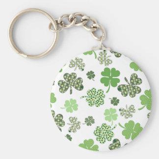 St. Patrick's Day Irish Green and White Clovers Basic Round Button Keychain
