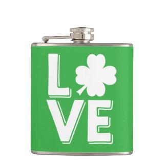 St. Patrick's Day Irish Love Green Shamrock Hip Flask