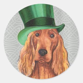 St. Patrick's Day Irish Setter Round Stickers