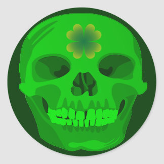 St Patrick's Day Irish Shamrock Skull Classic Round Sticker