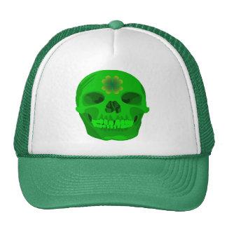St Patrick's Day Irish Shamrock Skull Trucker Hat