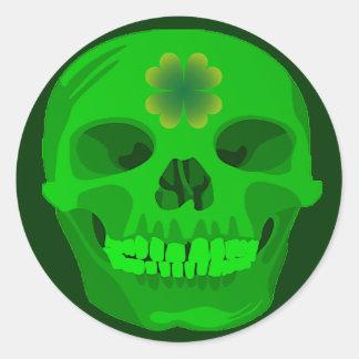 St Patrick's Day Irish Shamrock Skull Round Sticker