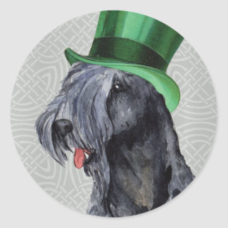 St. Patrick's Day Kerry Blue Terrier Classic Round Sticker