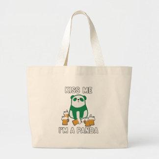 St Patrick's Day Kiss Me I'm a Panda Large Tote Bag