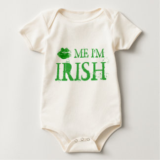 St. Patrick's Day Kiss Me I'm Irish Green Lips Baby Bodysuit