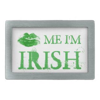 St. Patrick's Day Kiss Me I'm Irish Green Lips Rectangular Belt Buckle