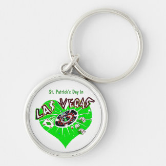 St Patrick's Day Las Vegas Silver-Colored Round Keychain