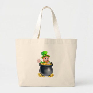 St Patricks Day Leprechaun and Pot of Gold Large Tote Bag