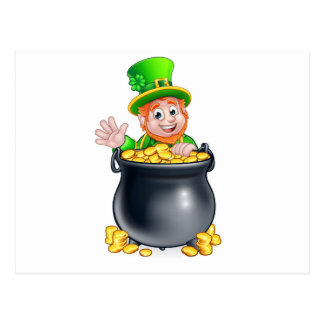St Patricks Day Leprechaun and Pot of Gold Postcard