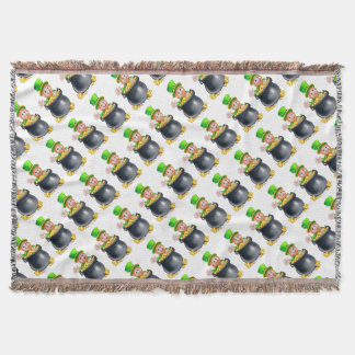 St Patricks Day Leprechaun and Pot of Gold Throw Blanket