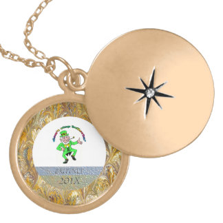 St. Patrick's Day Leprechaun Don't Stop Believing Gold Plated Necklace