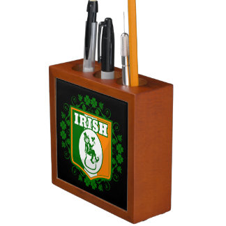 St Patricks Day Leprechaun Gold Desk Organizer