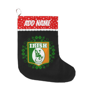 St Patricks Day Leprechaun Gold Large Christmas Stocking