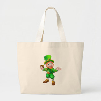 St Patricks Day Leprechaun Holding Pipe Large Tote Bag