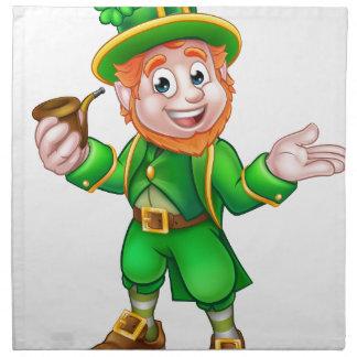 St Patricks Day Leprechaun Holding Pipe Napkin
