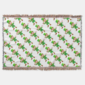 St Patricks Day Leprechaun Holding Pipe Throw Blanket