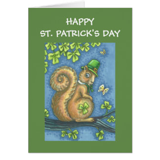 ST. PATRICKS DAY LEPRECHAUN SQUIRREL GREETING CARD