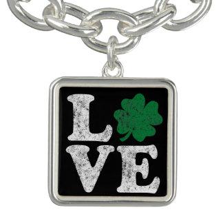 St Patrick's Day LOVE Shamrock Irish Charm Bracelets