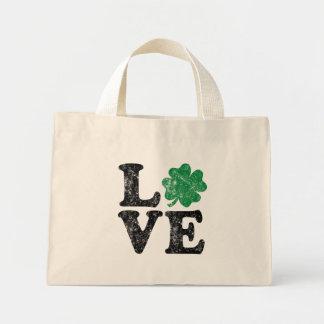 St Patrick's Day LOVE Shamrock Irish Mini Tote Bag