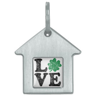 St Patrick's Day LOVE Shamrock Irish Pet Name Tag