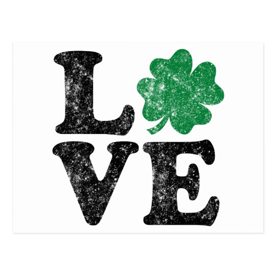 St Patrick's Day LOVE Shamrock Irish Postcard