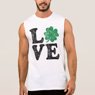 St Patrick's Day LOVE Shamrock Irish Sleeveless Shirt