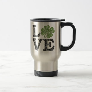 St Patricks Day LOVE with shamrock 15 Oz Stainless Steel Travel Mug