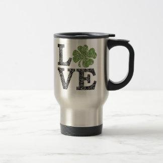 St Patricks Day LOVE with shamrock Travel Mug