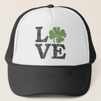 St Patricks Day LOVE with shamrock Trucker Hat