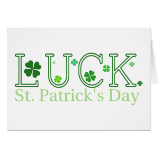 """St. Patrick's Day """"Luck"""" Note Card"""