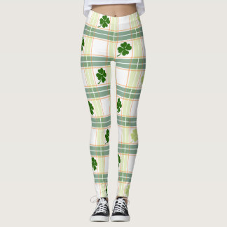 St Patricks Day Lucky Clovers Leggings
