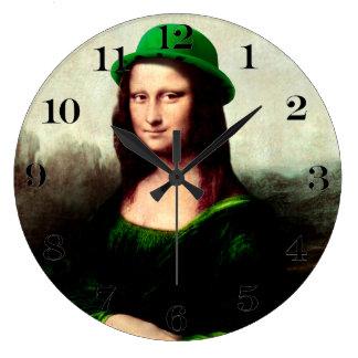 St Patrick's Day - Lucky Mona Lisa Large Clock