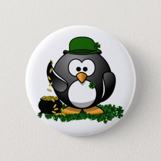 St. Patrick's Day Lucky Penguin with Pot Of Gold 2 Inch Round Button