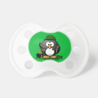 St. Patrick's Day Lucky Penguin with Pot of Gold Pacifier