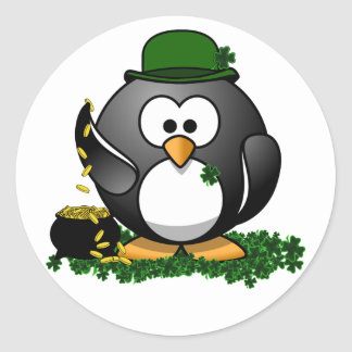 St. Patrick's Day Lucky Penguin with Pot Of Gold Round Sticker