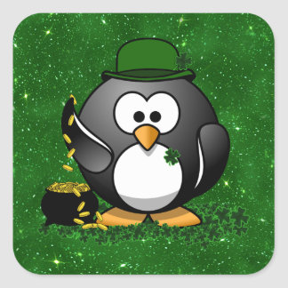 St. Patrick's Day Lucky Penguin with Pot Of Gold Square Sticker