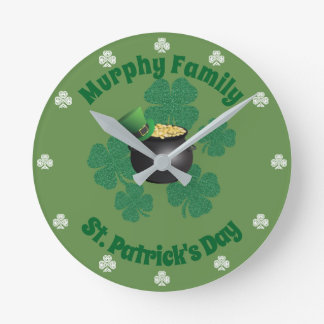 St Patrick's Day Lucky Pot Of Gold Round Clock