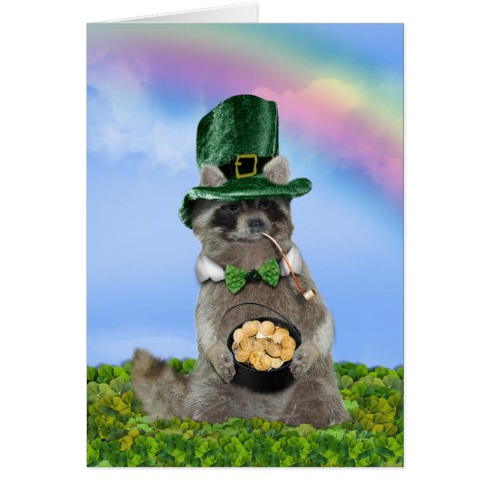 St Patrick's Day - Lucky Raccoon Card