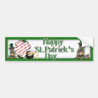 St Patrick's Day Lucky Raccoon Photo Frame Car Bumper Sticker