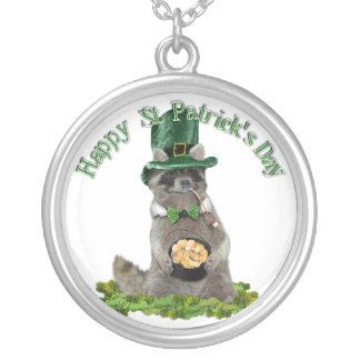St Patrick's Day Lucky Raccoon Round Pendant Necklace