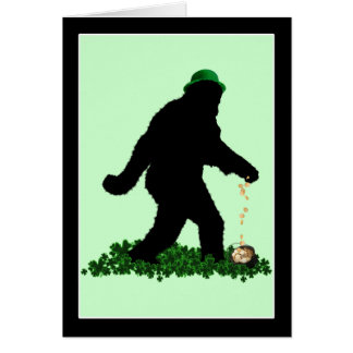 St Patrick's Day Lucky Sasquatch Card