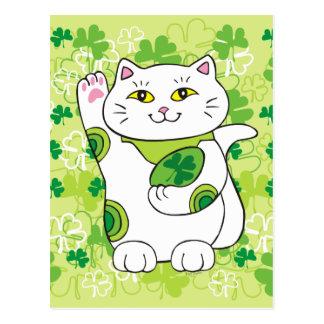 St. Patrick's Day Maneki Neko (Lucky Cat) Postcard