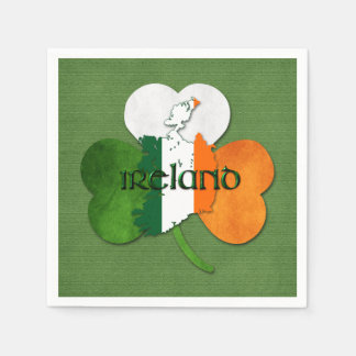 St. Patrick's Day Map of Ireland/Clover Paper Napkins