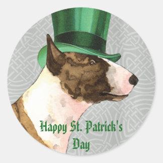 St. Patrick's Day Mini Bull Terrier Classic Round Sticker