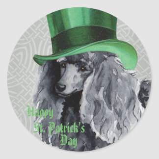 St. Patrick's Day Miniature Poodle Round Sticker