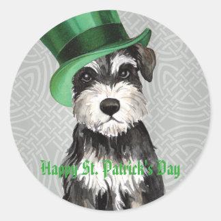 St. Patrick's Day Miniature Schnauzer Round Sticker