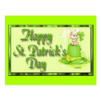 St Patricks Day Mouse Hat Clover Postcard