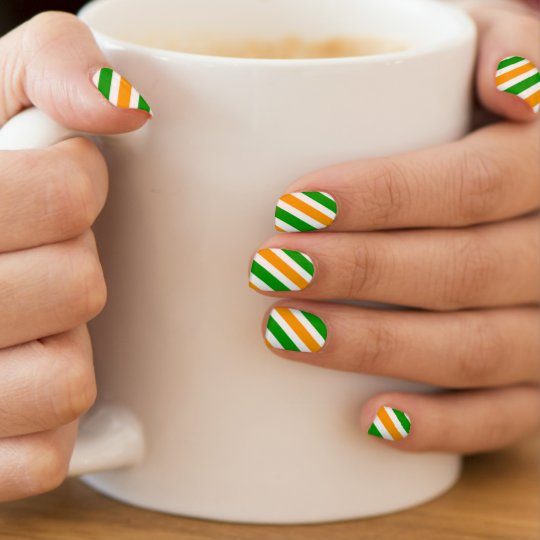 St Patricks Day nail extensions | Irish flag Minx Nail Art