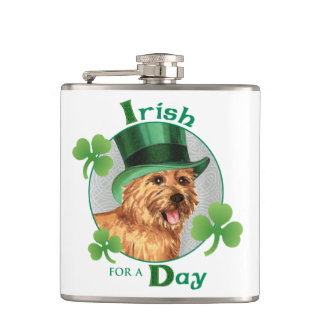St. Patrick's Day Norwich Terrier Flask