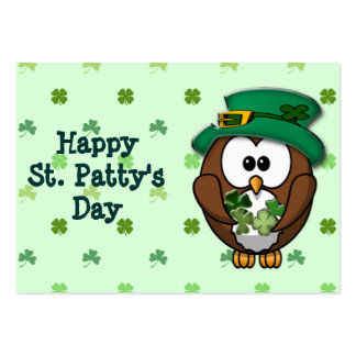 St. Patrick's Day owl Pack Of Chubby Business Cards